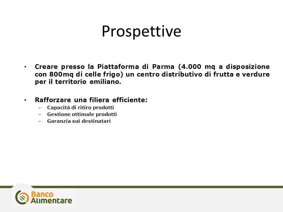 Prospettive Creare presso la Piattaforma di Parma (4.000 mq a disposizione con 800mq di celle frigo) un centro distributivo di frutta e verdure per il