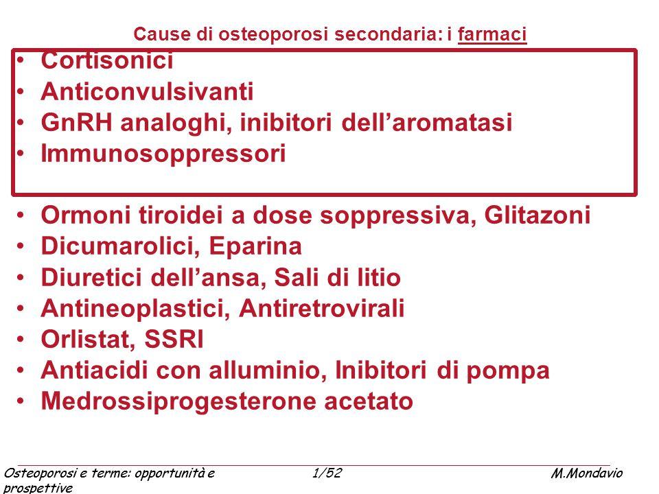 Osteoporosi e terme: opportunità e prospettive M.Mondavio1/52Osteoporosi e terme: opportunità e prospettive M.Mondavio Cause di osteoporosi secondaria