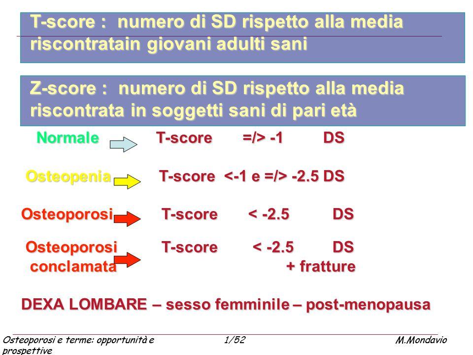Osteoporosi e terme: opportunità e prospettive M.Mondavio1/52Osteoporosi e terme: opportunità e prospettive M.Mondavio Normale T-score =/> -1 DS Norma