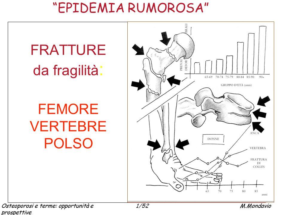 Osteoporosi e terme: opportunità e prospettive M.Mondavio1/52Osteoporosi e terme: opportunità e prospettive M.Mondavio TERAPIA TERMALE (FBT) OSTEOARTROSI ed altre forme degenerative REUMATISMI EXTRARTICOLARI