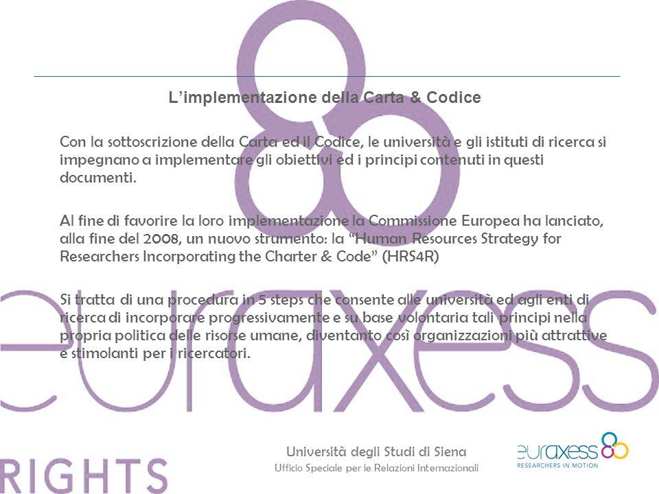 Università degli Studi di Siena Ufficio Speciale per le Relazioni Internazionali L'implementazione della Carta & Codice Con la sottoscrizione della Carta ed il Codice, le università e gli istituti di ricerca si impegnano a implementare gli obiettivi ed i principi contenuti in questi documenti.