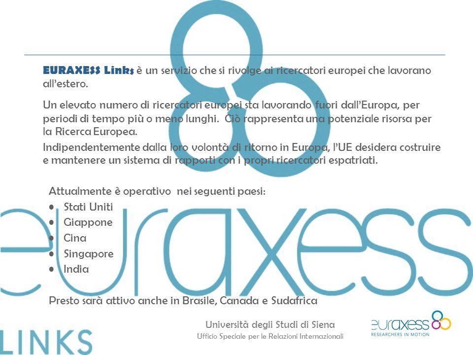 Università degli Studi di Siena Ufficio Speciale per le Relazioni Internazionali EURAXESS Links è un servizio che si rivolge ai ricercatori europei che lavorano all'estero.