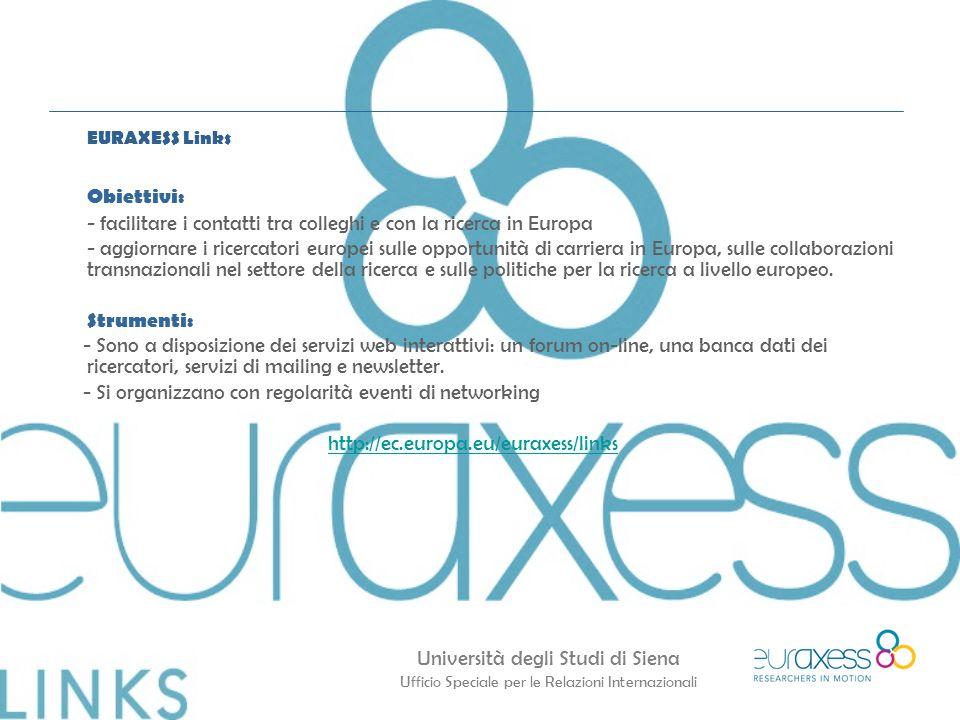 Università degli Studi di Siena Ufficio Speciale per le Relazioni Internazionali EURAXESS Links Obiettivi: - facilitare i contatti tra colleghi e con