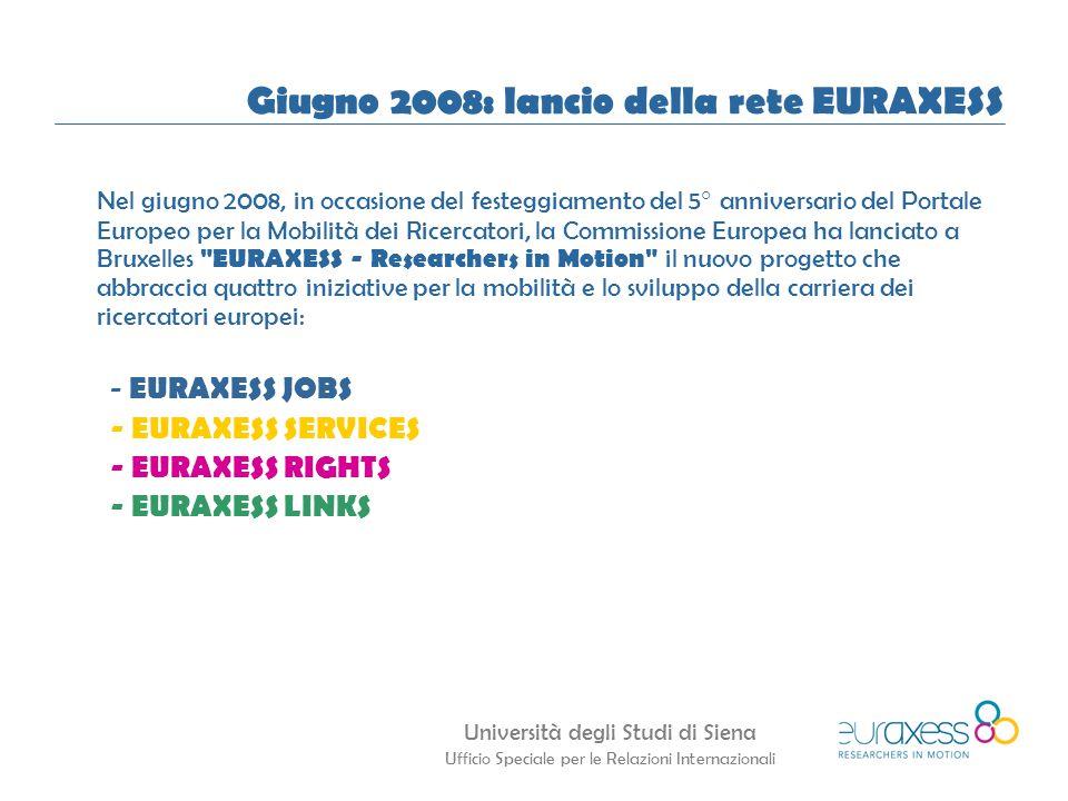 Università degli Studi di Siena Ufficio Speciale per le Relazioni Internazionali Giugno 2008: lancio della rete EURAXESS Nel giugno 2008, in occasione del festeggiamento del 5° anniversario del Portale Europeo per la Mobilità dei Ricercatori, la Commissione Europea ha lanciato a Bruxelles EURAXESS - Researchers in Motion il nuovo progetto che abbraccia quattro iniziative per la mobilità e lo sviluppo della carriera dei ricercatori europei: - EURAXESS JOBS - EURAXESS SERVICES - EURAXESS RIGHTS - EURAXESS LINKS