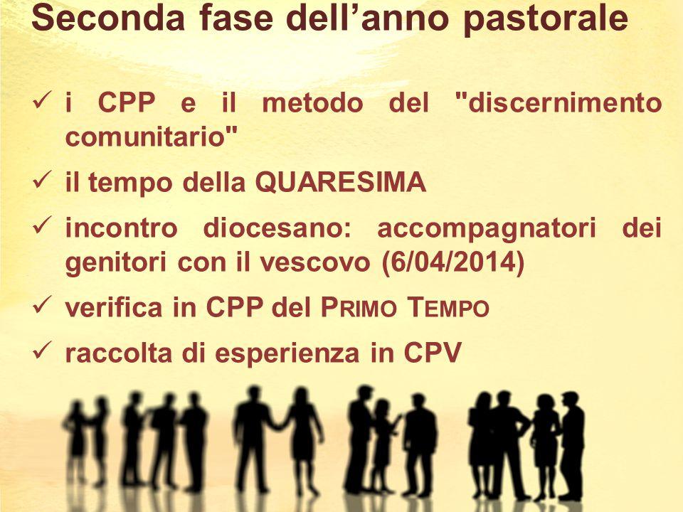 Seconda fase dell'anno pastorale i CPP e il metodo del discernimento comunitario il tempo della QUARESIMA incontro diocesano: accompagnatori dei genitori con il vescovo (6/04/2014) verifica in CPP del P RIMO T EMPO raccolta di esperienza in CPV