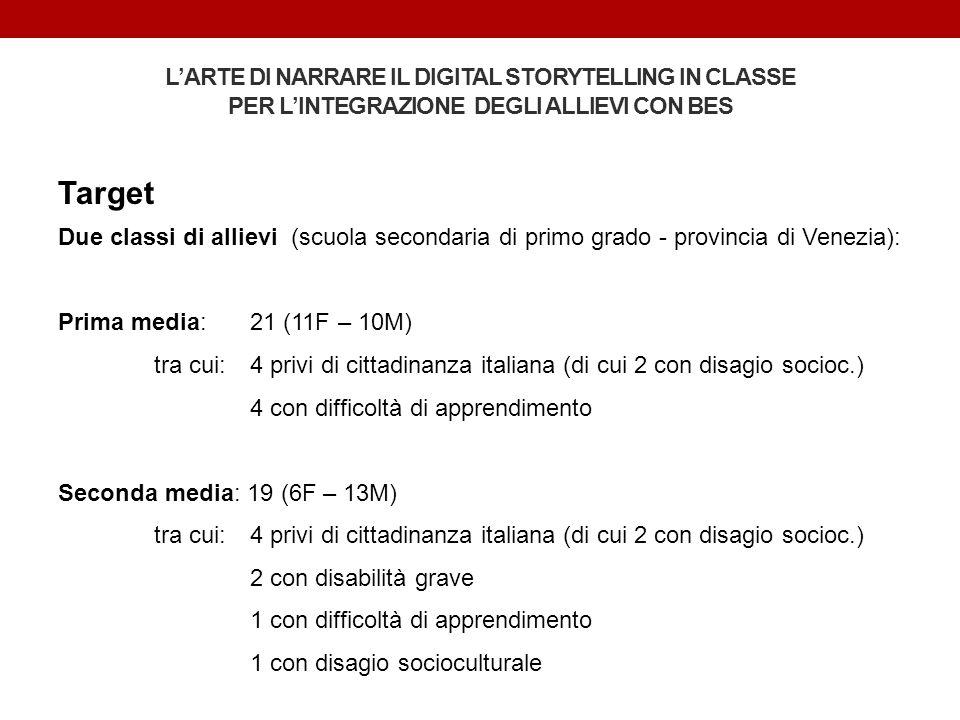 Target Due classi di allievi (scuola secondaria di primo grado - provincia di Venezia): Prima media: 21 (11F – 10M) tra cui: 4 privi di cittadinanza i