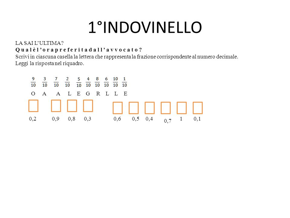 1°INDOVINELLO LA SAI L'ULTIMA? Q u a l è l ' o r a p r e f e r i t a d a l l ' a v v o c a t o ? Scrivi in ciascuna casella la lettera che rappresenta