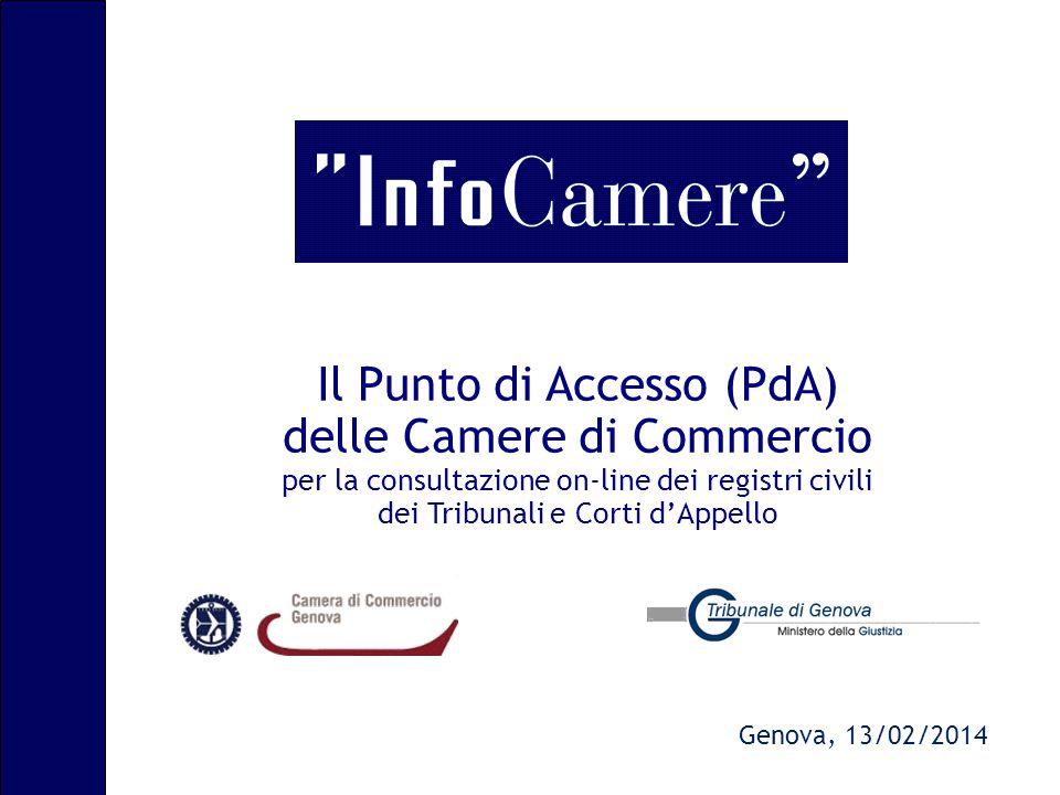 Il Punto di Accesso (PdA) delle Camere di Commercio per la consultazione on-line dei registri civili dei Tribunali e Corti d'Appello Genova, 13/02/201