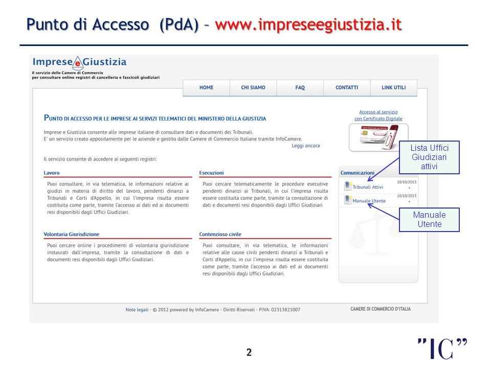 2 Punto di Accesso (PdA) – www.impreseegiustizia.it 2 Lista Uffici Giudiziari attivi Manuale Utente