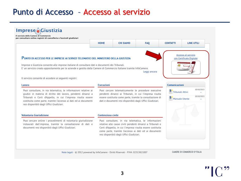 4 Punto di Accesso – Scelta impresa 4 Utente: rappresentante d'impresa Imprese delle quali l'utente è rappresentante Selezione impresa
