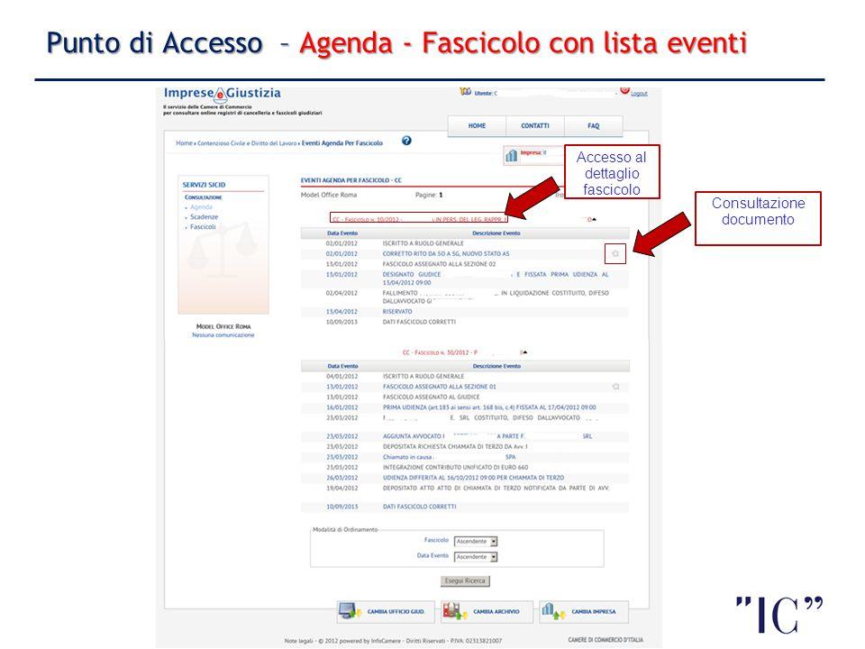 7 Punto di Accesso – Agenda - Fascicolo con lista eventi 7 Accesso al dettaglio fascicolo Consultazione documento