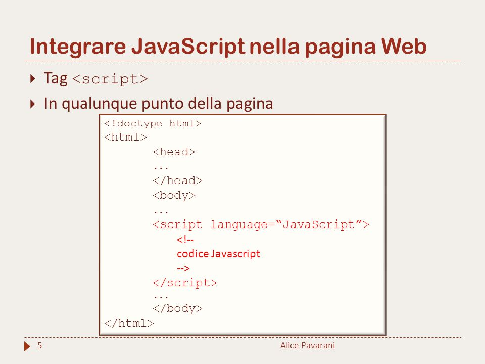 Integrare JavaScript nella pagina Web Alice Pavarani5  Tag  In qualunque punto della pagina......