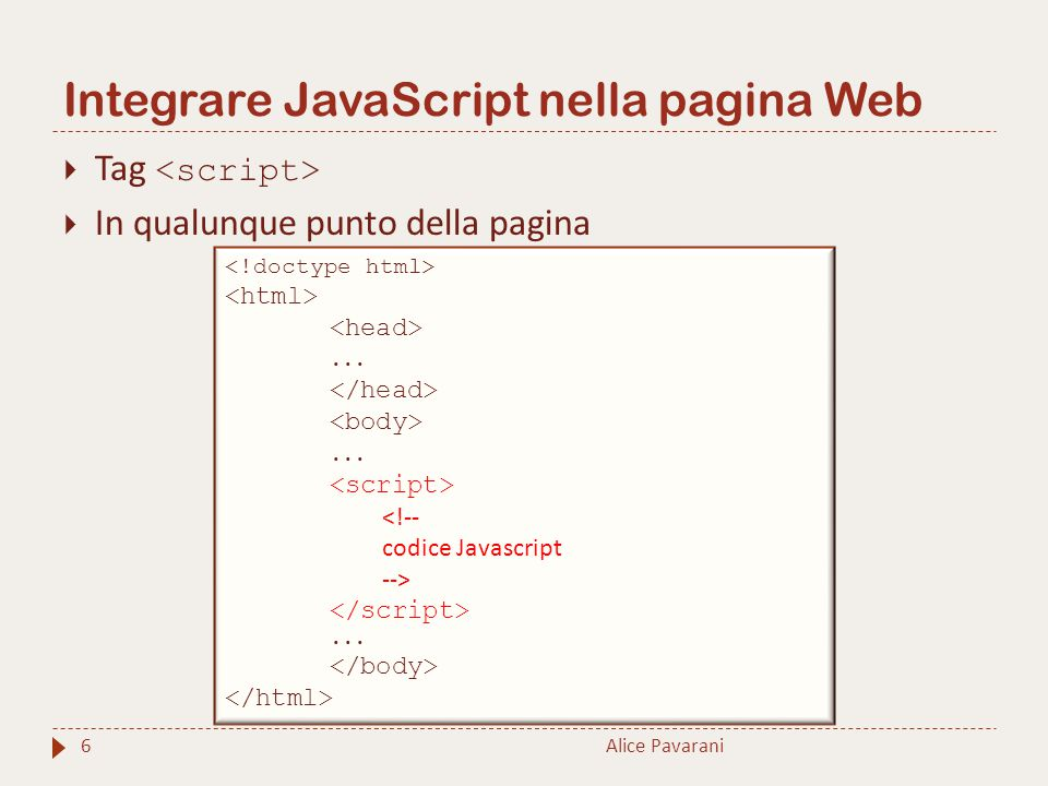 Integrare JavaScript nella pagina Web Alice Pavarani6  Tag  In qualunque punto della pagina...... <!-- codice Javascript -->...