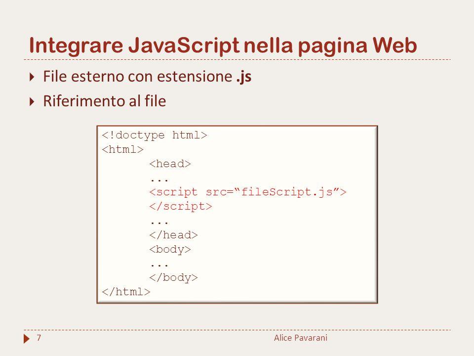 Integrare JavaScript nella pagina Web Alice Pavarani7  File esterno con estensione.js  Riferimento al file.........
