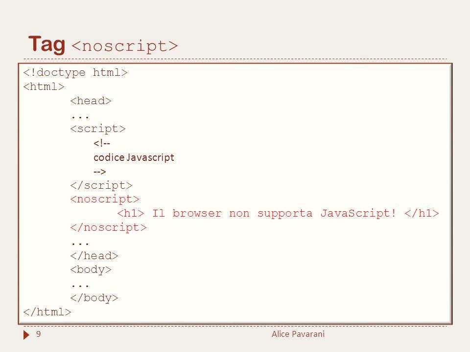 Tag Alice Pavarani9... <!-- codice Javascript --> Il browser non supporta JavaScript!......