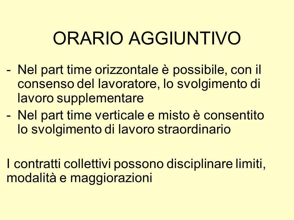 ORARIO AGGIUNTIVO -Nel part time orizzontale è possibile, con il consenso del lavoratore, lo svolgimento di lavoro supplementare -Nel part time vertic