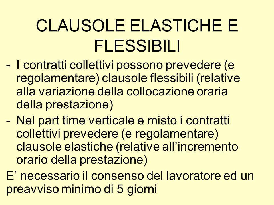 CLAUSOLE ELASTICHE E FLESSIBILI -I contratti collettivi possono prevedere (e regolamentare) clausole flessibili (relative alla variazione della colloc