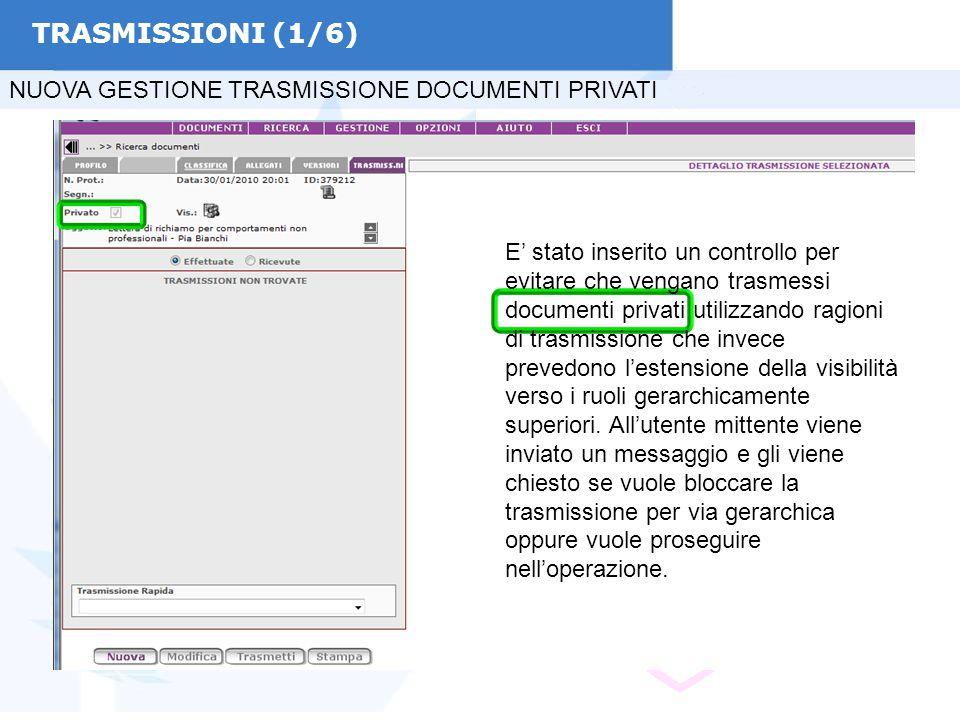 TRASMISSIONI (1/6) NUOVA GESTIONE TRASMISSIONE DOCUMENTI PRIVATI E' stato inserito un controllo per evitare che vengano trasmessi documenti privati ut