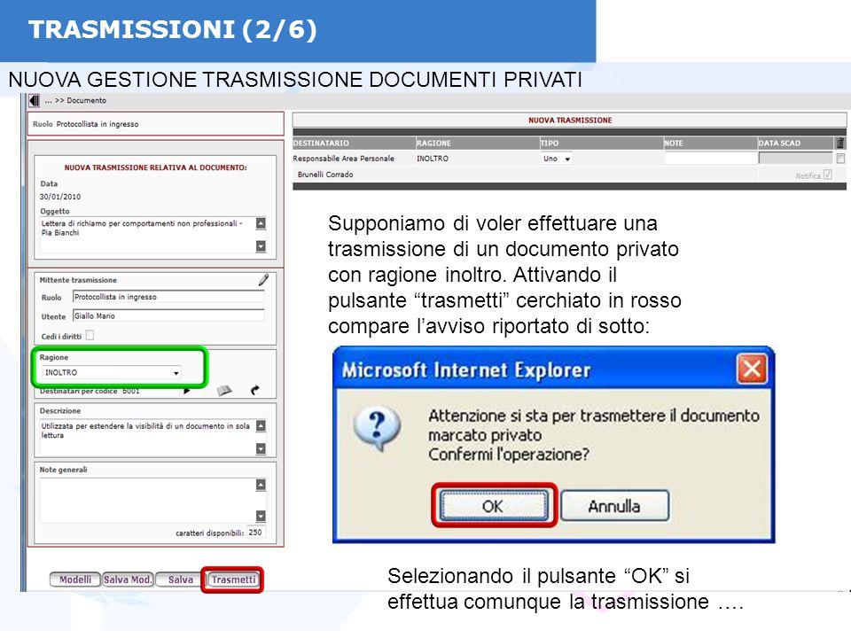TRASMISSIONI (2/6) NUOVA GESTIONE TRASMISSIONE DOCUMENTI PRIVATI Supponiamo di voler effettuare una trasmissione di un documento privato con ragione i