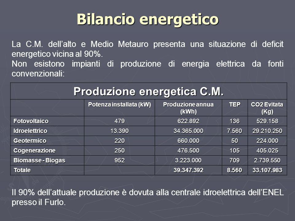 Bilancio energetico La C.M. dell'alto e Medio Metauro presenta una situazione di deficit energetico vicina al 90%. Non esistono impianti di produzione