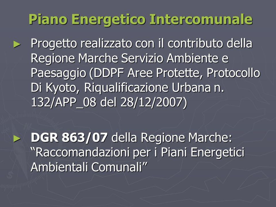 Piano Energetico Intercomunale ► Progetto realizzato con il contributo della Regione Marche Servizio Ambiente e Paesaggio (DDPF Aree Protette, Protoco
