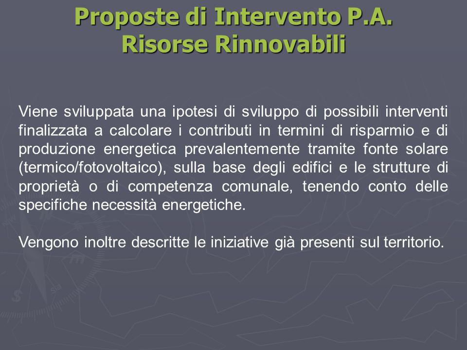 Proposte di Intervento P.A. Risorse Rinnovabili Viene sviluppata una ipotesi di sviluppo di possibili interventi finalizzata a calcolare i contributi