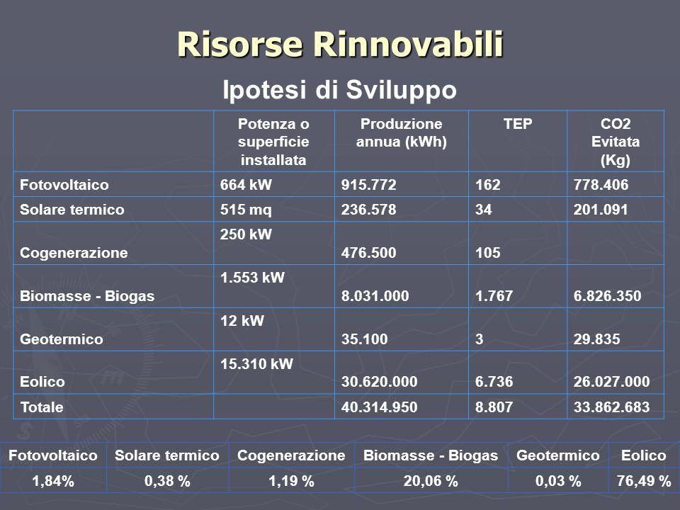Ipotesi di Sviluppo Risorse Rinnovabili FotovoltaicoSolare termicoCogenerazioneBiomasse - BiogasGeotermicoEolico 1,84%0,38 %1,19 %20,06 %0,03 %76,49 %