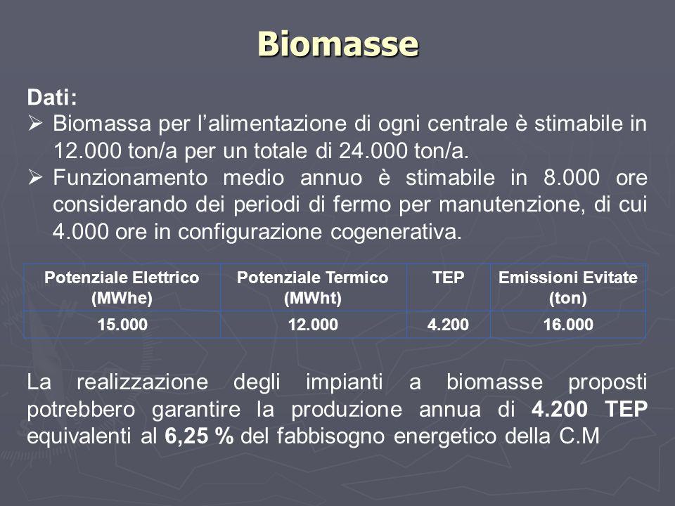 Biomasse Dati: Potenziale Elettrico (MWhe) Potenziale Termico (MWht) TEPEmissioni Evitate (ton) 15.00012.0004.20016.000  Biomassa per l'alimentazione