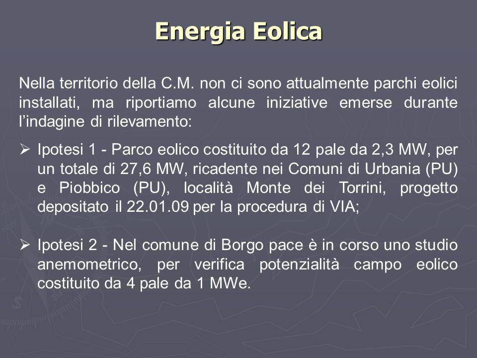 Energia Eolica Nella territorio della C.M. non ci sono attualmente parchi eolici installati, ma riportiamo alcune iniziative emerse durante l'indagine