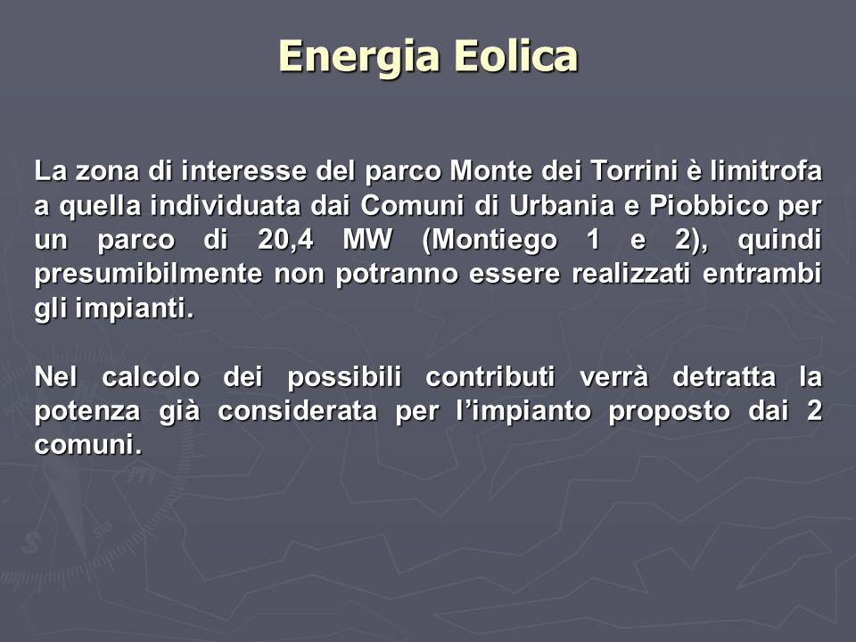 La zona di interesse del parco Monte dei Torrini è limitrofa a quella individuata dai Comuni di Urbania e Piobbico per un parco di 20,4 MW (Montiego 1