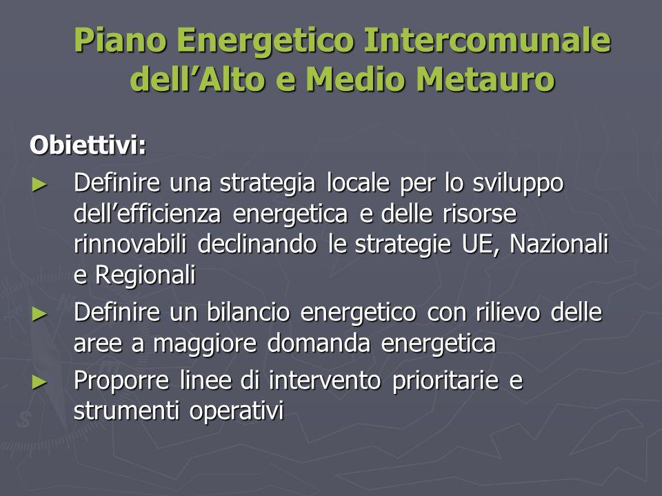 Piano Energetico Intercomunale dell'Alto e Medio Metauro Obiettivi: ► Definire una strategia locale per lo sviluppo dell'efficienza energetica e delle