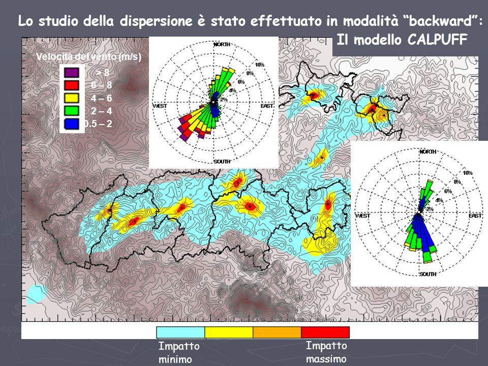 """Lo studio della dispersione è stato effettuato in modalità """"backward"""": Impatto minimo Impatto massimo Fermignano Urbino 0.5 – 2 2 – 4 4 – 6 6 – 8 > 8"""