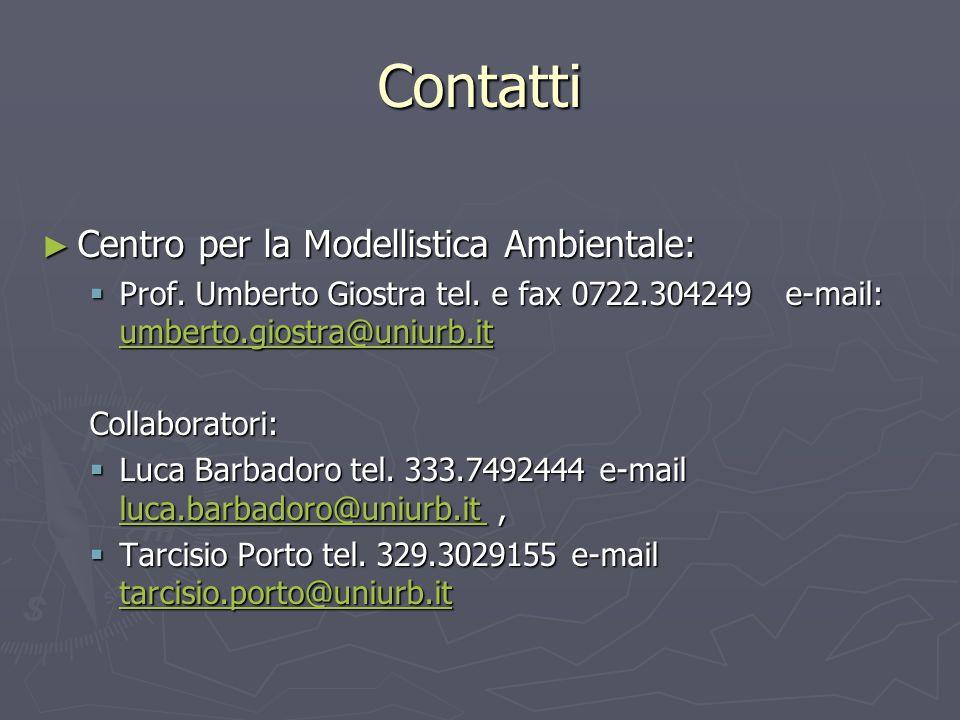 Contatti ► Centro per la Modellistica Ambientale:  Prof. Umberto Giostra tel. e fax 0722.304249 e-mail: umberto.giostra@uniurb.it umberto.giostra@uni