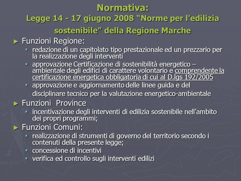 """Normativa: Legge 14 - 17 giugno 2008 """"Norme per l'edilizia sostenibile"""" della Regione Marche ► Funzioni Regione:  redazione di un capitolato tipo pre"""