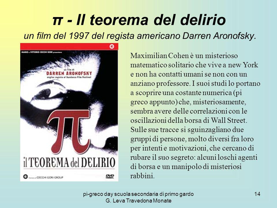 pi-greco day scuola secondaria di primo gardo G. Leva Travedona Monate 14 π - Il teorema del delirio un film del 1997 del regista americano Darren Aro