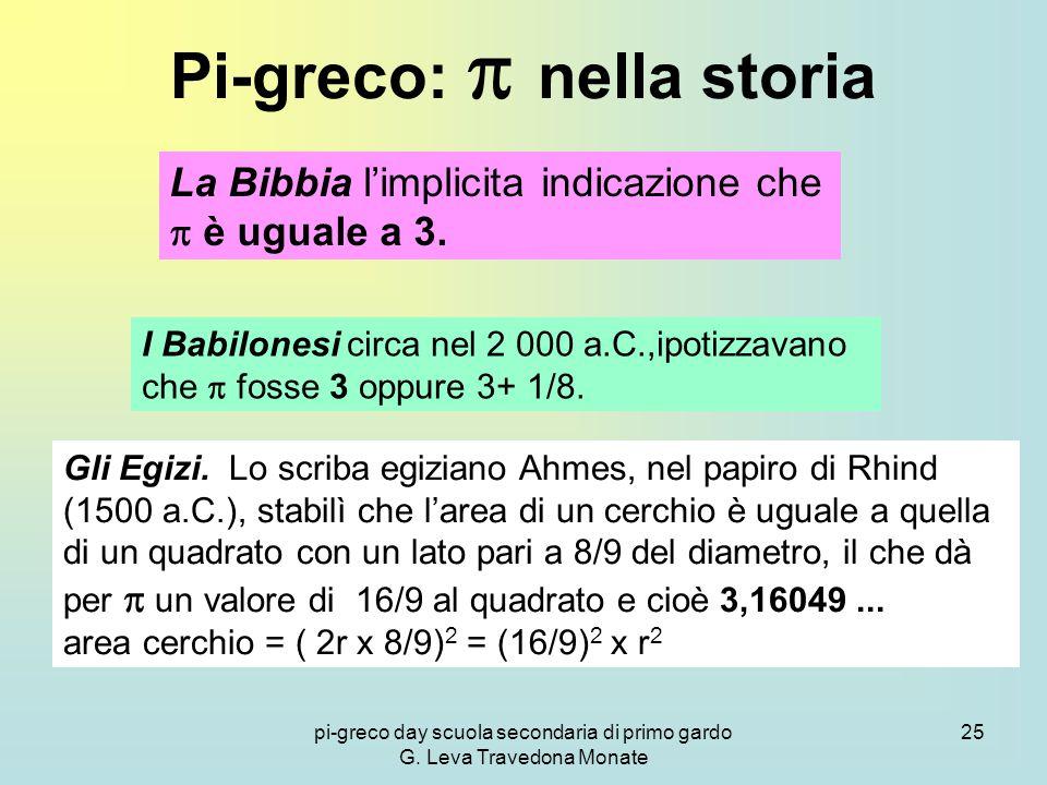 pi-greco day scuola secondaria di primo gardo G. Leva Travedona Monate 25 Pi-greco:  nella storia La Bibbia l'implicita indicazione che  è uguale a