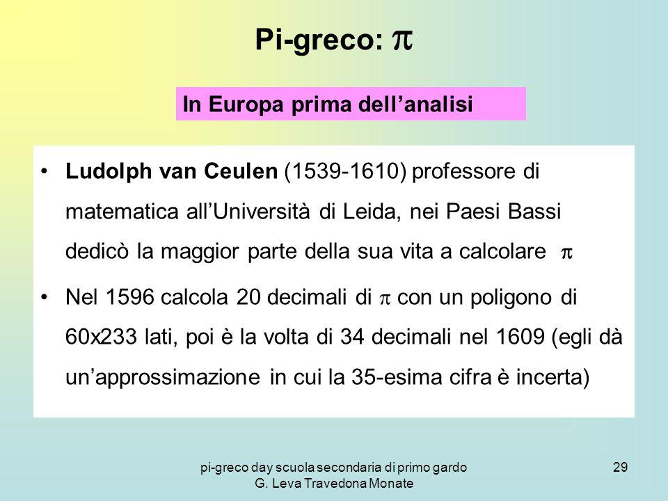 pi-greco day scuola secondaria di primo gardo G. Leva Travedona Monate 29 Pi-greco:  Ludolph van Ceulen (1539-1610) professore di matematica all'Univ