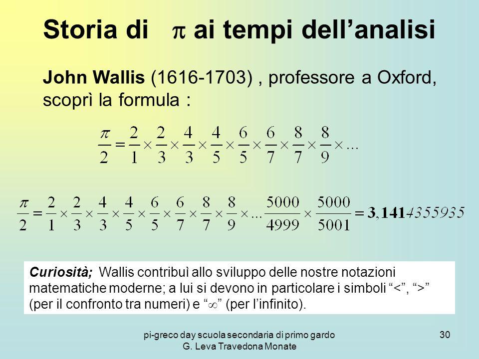 pi-greco day scuola secondaria di primo gardo G. Leva Travedona Monate 30 Storia di  ai tempi dell'analisi John Wallis (1616-1703), professore a Oxfo