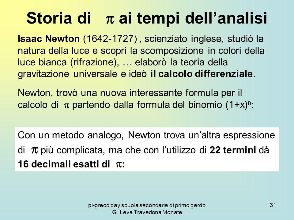 pi-greco day scuola secondaria di primo gardo G. Leva Travedona Monate 31 Storia di  ai tempi dell'analisi Isaac Newton (1642-1727), scienziato ingle