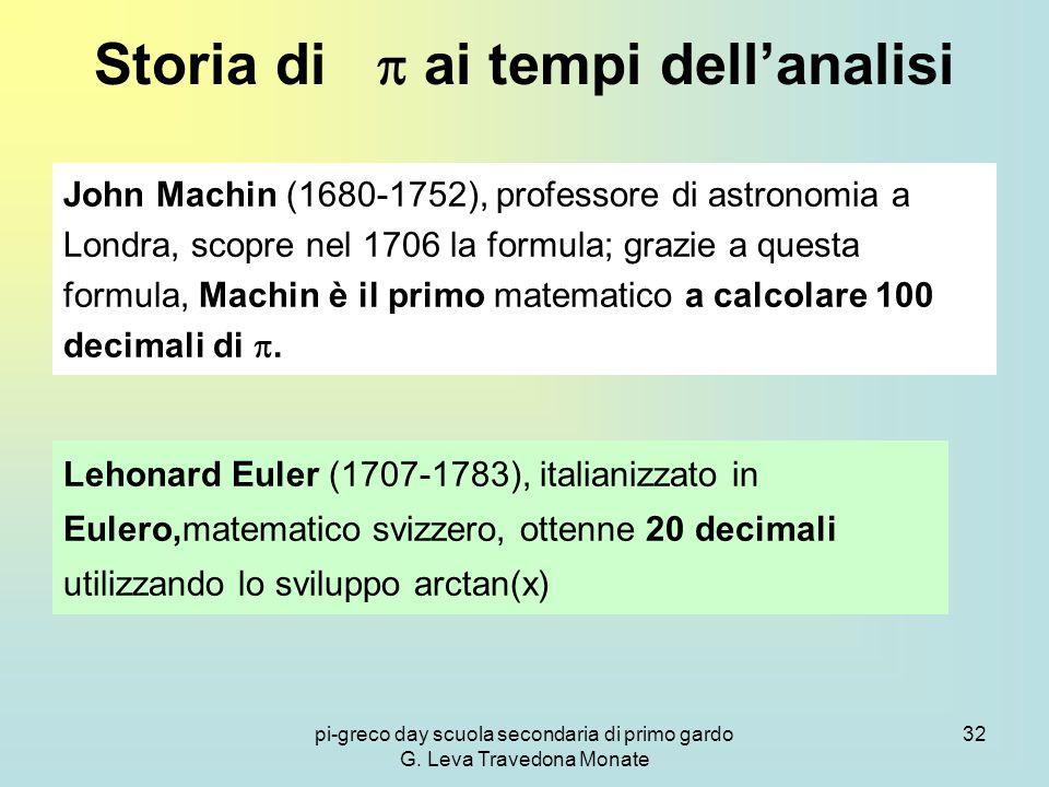 pi-greco day scuola secondaria di primo gardo G. Leva Travedona Monate 32 Storia di  ai tempi dell'analisi John Machin (1680-1752), professore di ast
