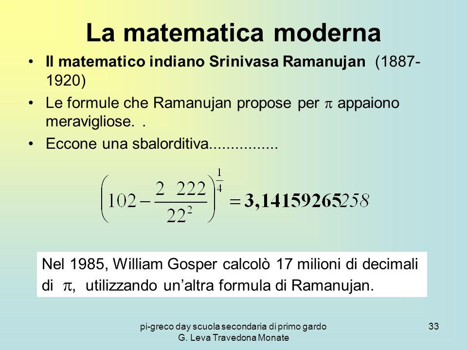 pi-greco day scuola secondaria di primo gardo G. Leva Travedona Monate 33 La matematica moderna Il matematico indiano Srinivasa Ramanujan (1887- 1920)