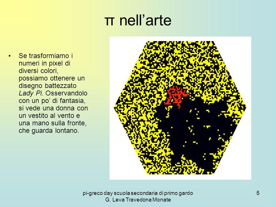 pi-greco day scuola secondaria di primo gardo G. Leva Travedona Monate 5 π nell'arte Se trasformiamo i numeri in pixel di diversi colori, possiamo ott