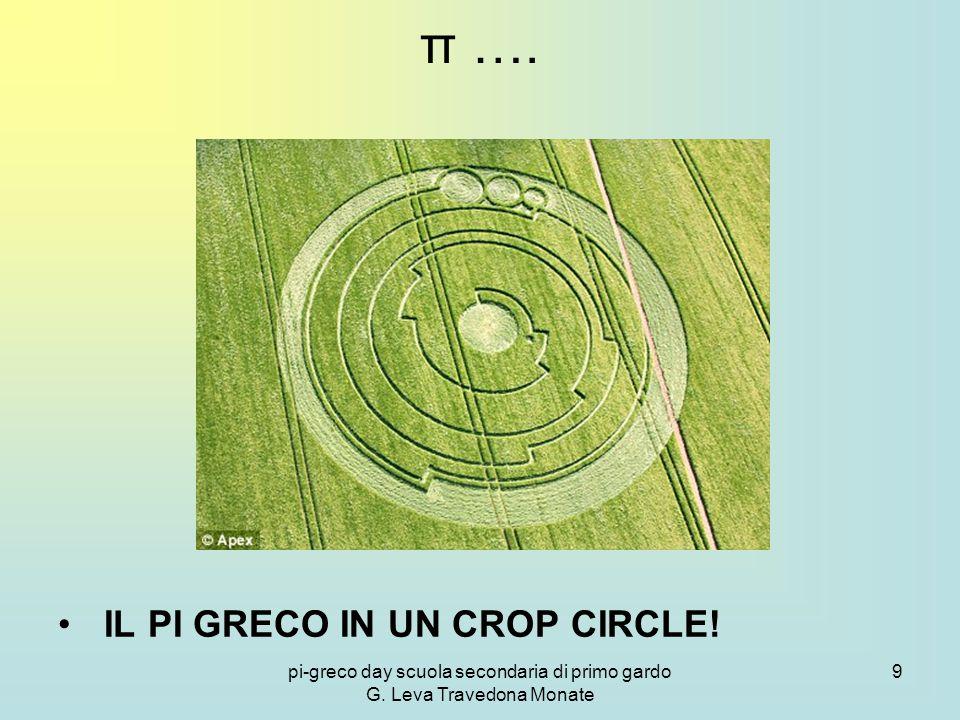 pi-greco day scuola secondaria di primo gardo G. Leva Travedona Monate 9 π …. IL PI GRECO IN UN CROP CIRCLE!