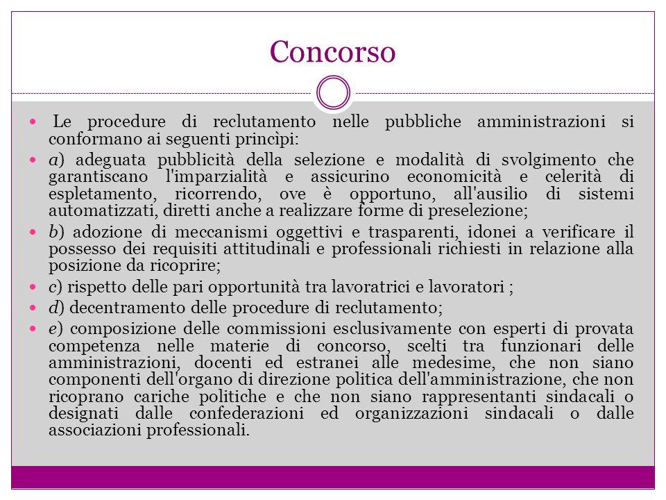 Concorso Le procedure di reclutamento nelle pubbliche amministrazioni si conformano ai seguenti princìpi: a) adeguata pubblicità della selezione e mod