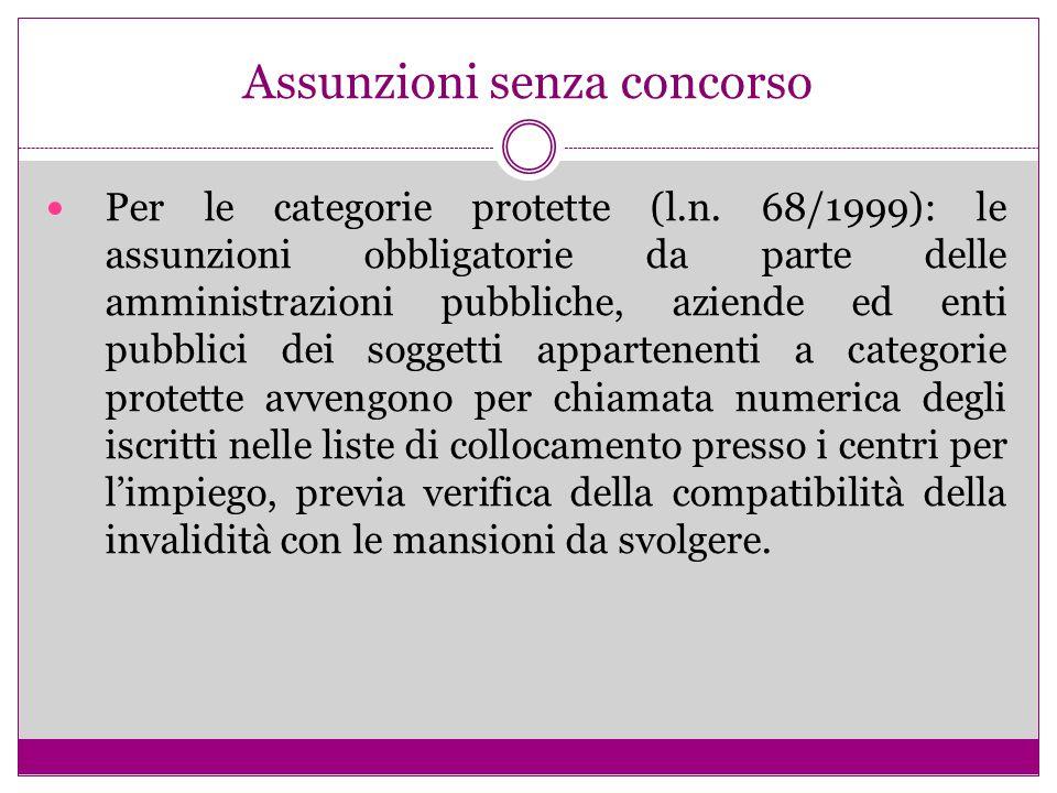 Assunzioni senza concorso Per le categorie protette (l.n. 68/1999): le assunzioni obbligatorie da parte delle amministrazioni pubbliche, aziende ed en