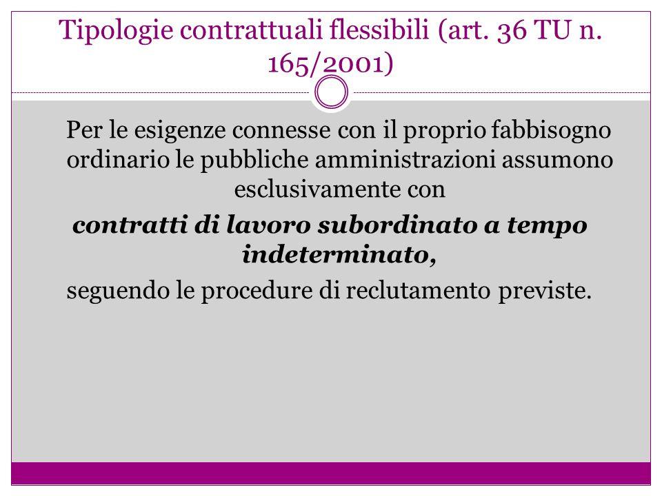 Tipologie contrattuali flessibili (art. 36 TU n. 165/2001) Per le esigenze connesse con il proprio fabbisogno ordinario le pubbliche amministrazioni a