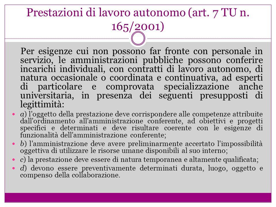 Prestazioni di lavoro autonomo (art. 7 TU n. 165/2001) Per esigenze cui non possono far fronte con personale in servizio, le amministrazioni pubbliche