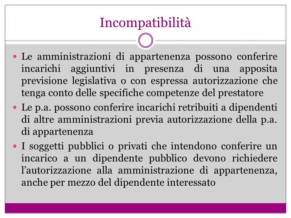Incompatibilità Le amministrazioni di appartenenza possono conferire incarichi aggiuntivi in presenza di una apposita previsione legislativa o con esp