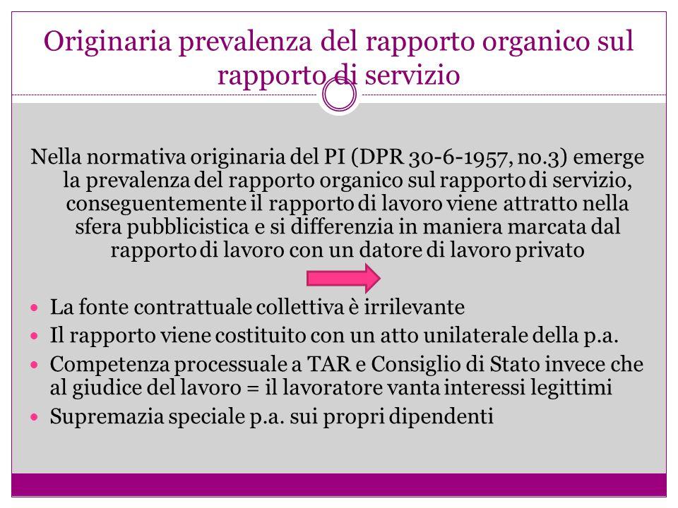 Originaria prevalenza del rapporto organico sul rapporto di servizio Nella normativa originaria del PI (DPR 30-6-1957, no.3) emerge la prevalenza del