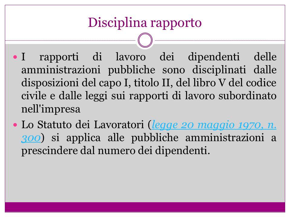 Disciplina rapporto I rapporti di lavoro dei dipendenti delle amministrazioni pubbliche sono disciplinati dalle disposizioni del capo I, titolo II, de